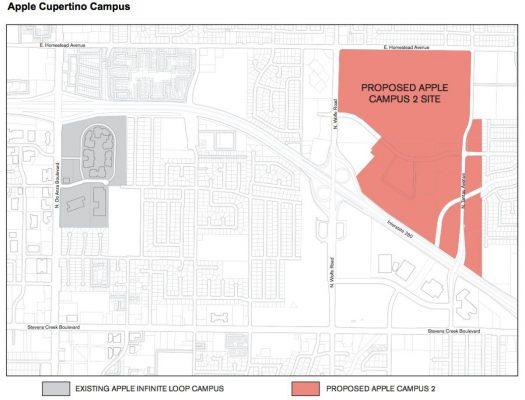 Apple Park nằm trên cùng con đường với khuôn viên hiện tại của Apple. Tuy nhiên nó sẽ có kích thước rộng hơn đáng kể.